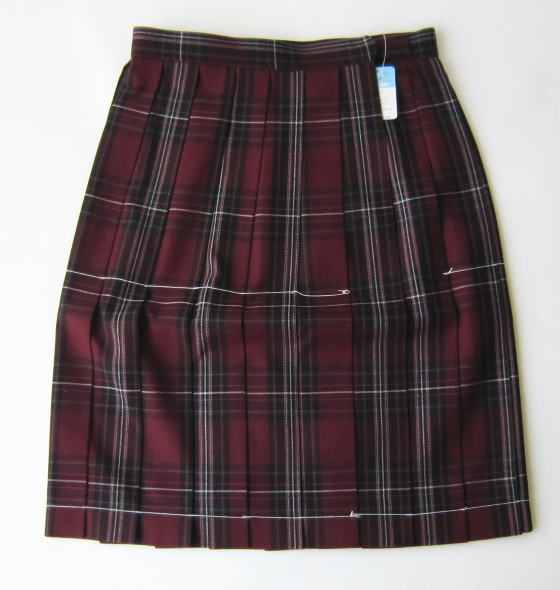 KURI-ORI スクールスカート 54cm丈 ワイン×ピンク クリオリ チェックプリーツスカート