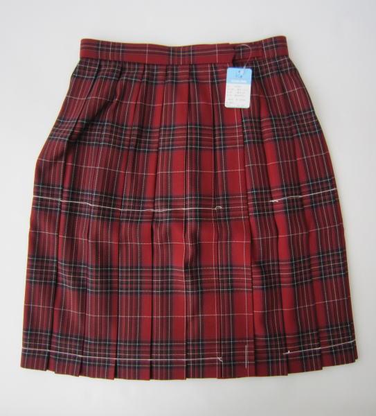 KURI-ORI スクールスカート 48cm丈 赤チェッククリオリ チェックプリーツスカート