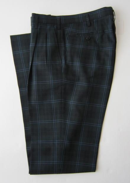 KURI-ORI クリオリ スラックス(スリムシルエット) 濃緑タータン×水色