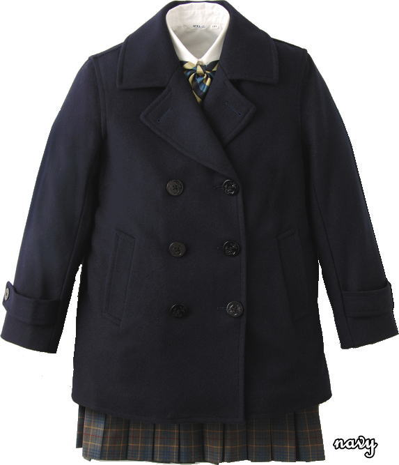 ジュニアサイズ 男女兼用 定番Pコート スクールコート ピーコート 紺 ネイビー 男子 女子 制服通学コート