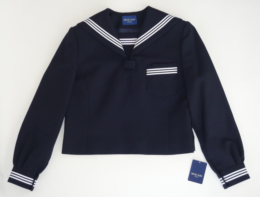 セーラー服上衣 (紺·3本ライン) ミッシェルクランスコレール ウール50%/ポリエステル50%