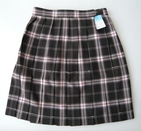 KURI-ORI スクールスカート 48cm丈 ブラウン×ピンククリオリ タータンチェックプリーツスカート