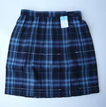 KURI-ORI スクールスカート 54cm丈 紺×ブルー(あおくま)クリオリ チェックプリーツスカート