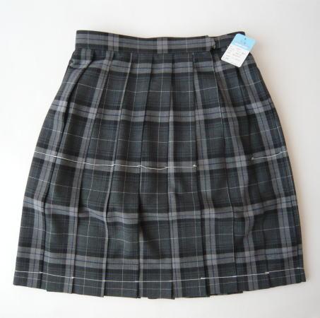 KURI-ORI 夏スクールスカート 42cm丈 グレー×紺・白クリオリ チェックプリーツスカート