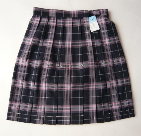 KURI-ORI スクールスカート 48cm・51cm丈 紺×ピンククリオリ チェックプリーツスカート
