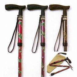 調節式折りたたみT字杖「まぁべんり」プリント柄折りたたみタイプ