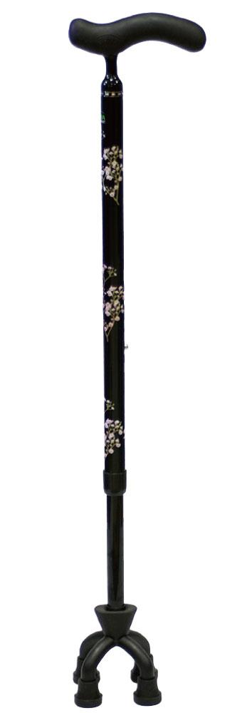カーボン四点可動式スモールタイプ[10%OFF][支柱可動][軽量][握りやすい][グリップカバー][細型ネック][多点杖]