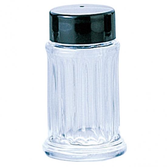 80 塩 スキ 黒フタ ガラス カスター&ディスペンサー 業務用 約H76mm
