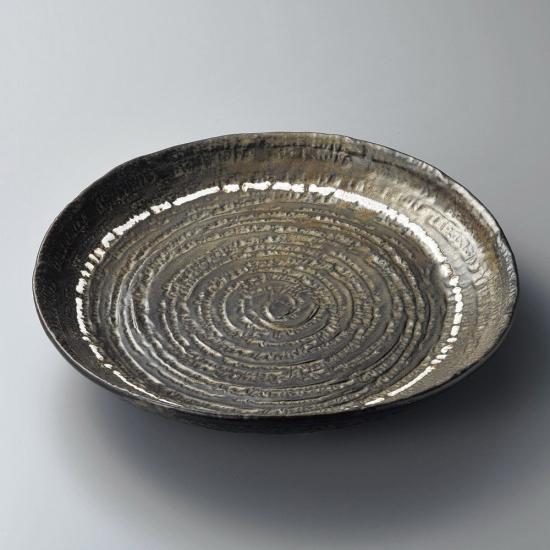 黒釉ライン尺三大皿 和食器 丸大皿 業務用 約41cm 和食 和風 ふぐ刺し 宴会 盛り付け皿 揚げ物盛り合わせ てっさ てっちり 忘年会 刺身盛り合わせ