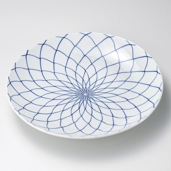 手描網13号皿 有田焼 和食器 丸大皿 業務用 約39.5cm 和食 和風 ふぐ刺し 宴会 盛り付け皿 揚げ物盛り合わせ てっさ てっちり 忘年会 刺身盛り合わせ
