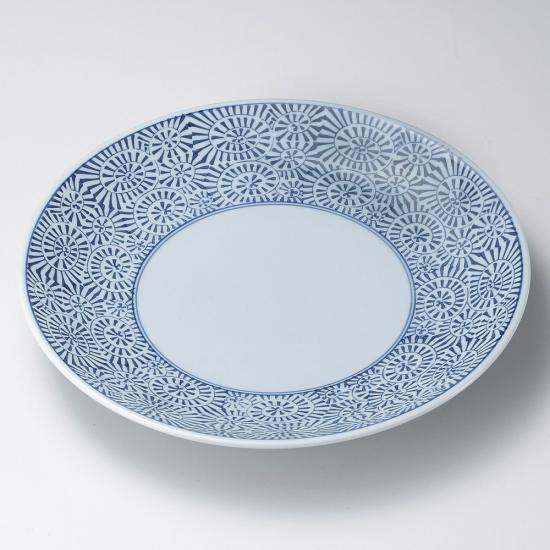 タコ唐草13号皿 有田焼 和食器 丸大皿 業務用 約40.5cm 和食 和風 ふぐ刺し 宴会 盛り付け皿 揚げ物盛り合わせ てっさ てっちり 忘年会 刺身盛り合わせ
