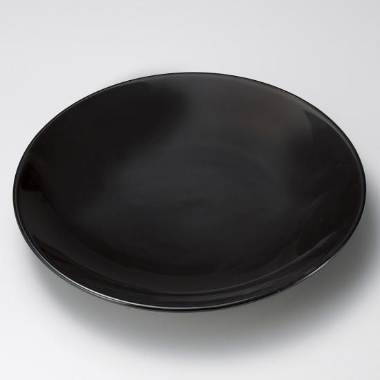 黒釉12号皿 有田焼 黒い器 和食器 丸大皿 業務用 約37cm 和食 和風 ふぐ刺し 宴会 盛り付け皿 揚げ物盛り合わせ てっさ てっちり 忘年会 刺身盛り合わせ