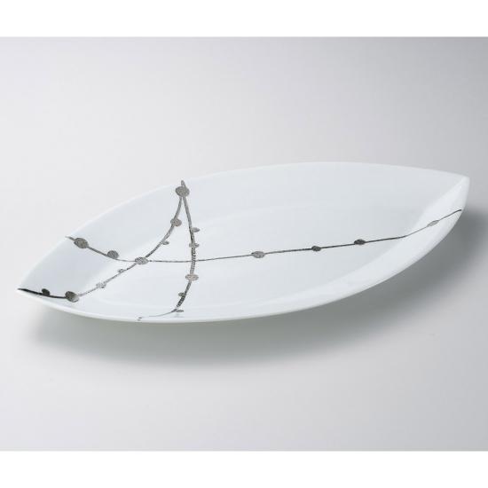錦白プラチナ玉すだれリーフ50cm皿 有田焼 和食器 変型大皿 業務用 約50cm 和食 和風 宴会 揚げ物 串物 刺身盛り合わせ 寿司盛り合わせ