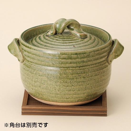緑釉五合御飯鍋 信楽焼 和食器 ごはん鍋 業務用 約26cm 和食 和風 白米 鯛めし 炊き込みご飯 割烹料理 日本料理 飲食店 小料理屋 創作料理 日本製