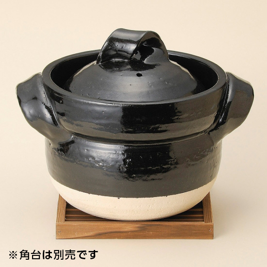 黒釉五合御飯鍋 信楽焼 和食器 ごはん鍋 業務用 約30cm 和食 和風 白米 鯛めし 炊き込みご飯 割烹料理 日本料理 飲食店 小料理屋 創作料理 日本製