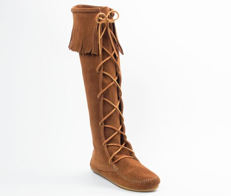 【ミネトンカ 公式】 MINNETONKAFRONT LACED HARD SOLE KNEE HI BOOT (WOMEN'S)ミネトンカ ミネトンカ モカシン レディース