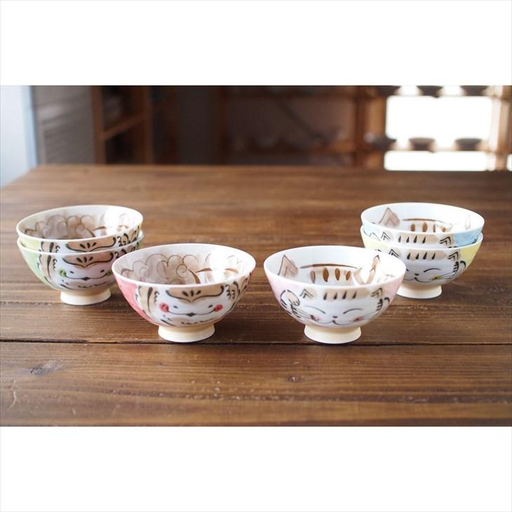 食器 和食器 飯碗 ねこ うつわ 美濃焼 みのる陶器  福福 茶碗 中 ご飯茶碗 すずめ 福
