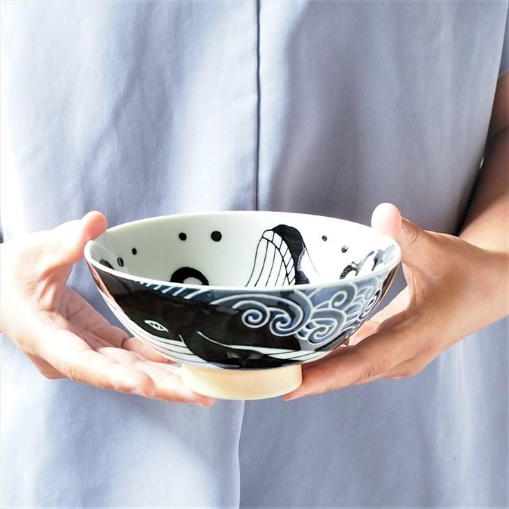 食器 和食器 飯碗 おしゃれ ごはん 白波くじら 青 茶碗 特大