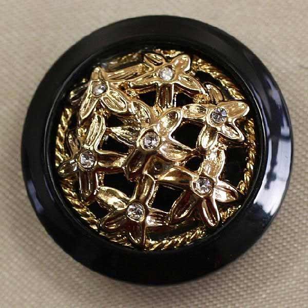ラインストーンで飾ったゴールド シルバーの豪華なボタン Jewel 新作製品、世界最高品質人気! IV 宝石のような輝きのボタン 正規品送料無料 6個セット IV149-G09 23mm