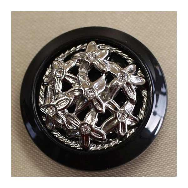 ラインストーンで飾ったゴールド シルバーの豪華なボタン 送料無料 激安 お買い得 キ゛フト Jewel 格安 価格でご提供いたします IV 6個セット IV149-N09 23mm 宝石のような輝きのボタン