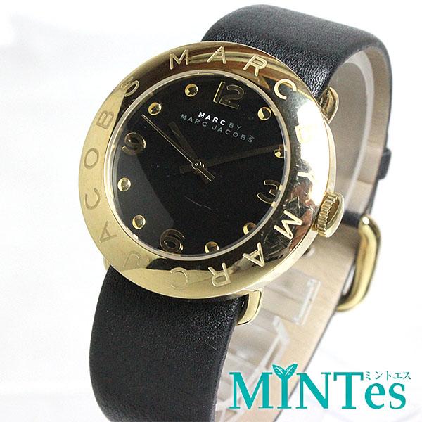 マーク バイ マーク ジェイコブス エイミー ボーイズ腕時計 クオーツ MBM115 黒文字盤 ブラックベルト ゴールド 【中古】
