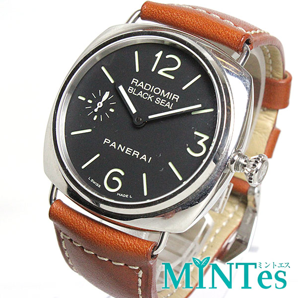 パネライ ラジオミール ブラックシール メンズ腕時計 手巻き PAM00183 裏スケ 【中古】