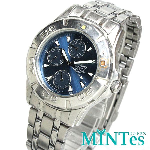 カシオ スタンダード メンズ腕時計 クォーツ MTD-1047 クロノグラフ ネイビー文字盤 シルバー 【中古】