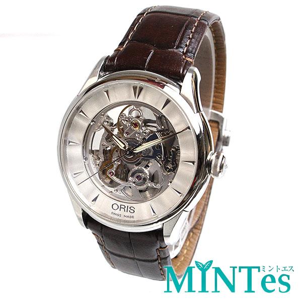 オリス スケルトン メンズ腕時計 オートマチック 0173475914051-07 シルバー ブラウン 自動巻き メンズ 【中古】