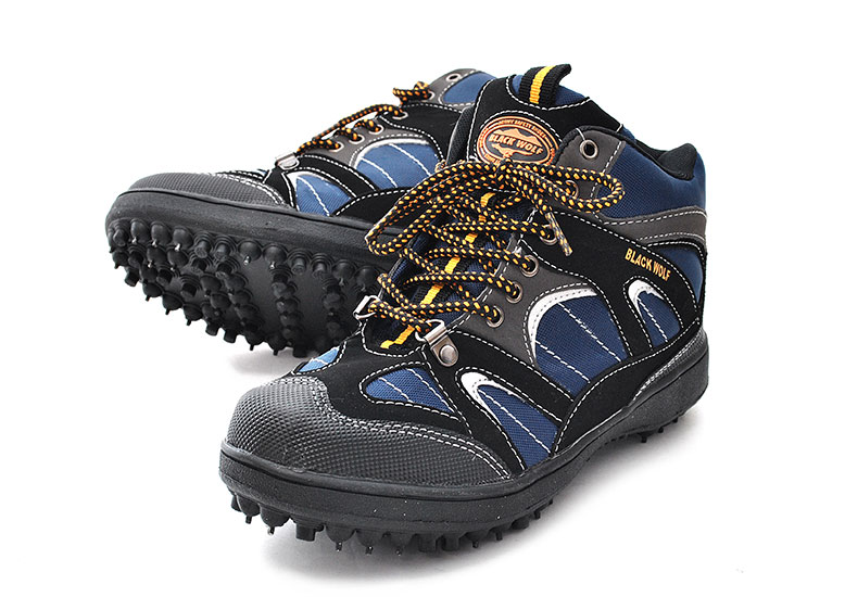 Clodhopper pin spikes Okamoto 9609 spiked shoes surf fishing wide 3E black wolf sneakers short outdoor forestry slope work edible wild plant