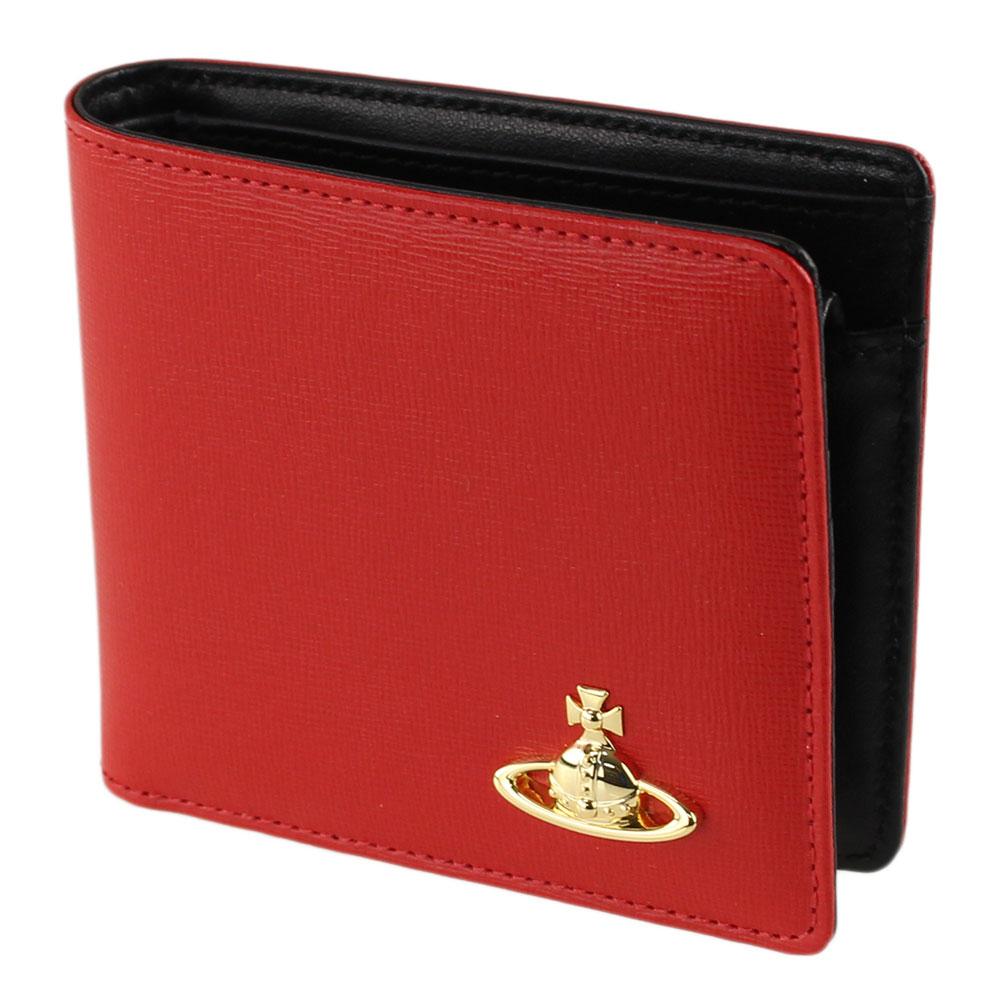 ヴィヴィアン ウエストウッド 折りたたみ財布 レディース 二つ折り財布 VIVIENNE WESTWOOD 51010032-41249 レッド系バイカラー 財布・小物