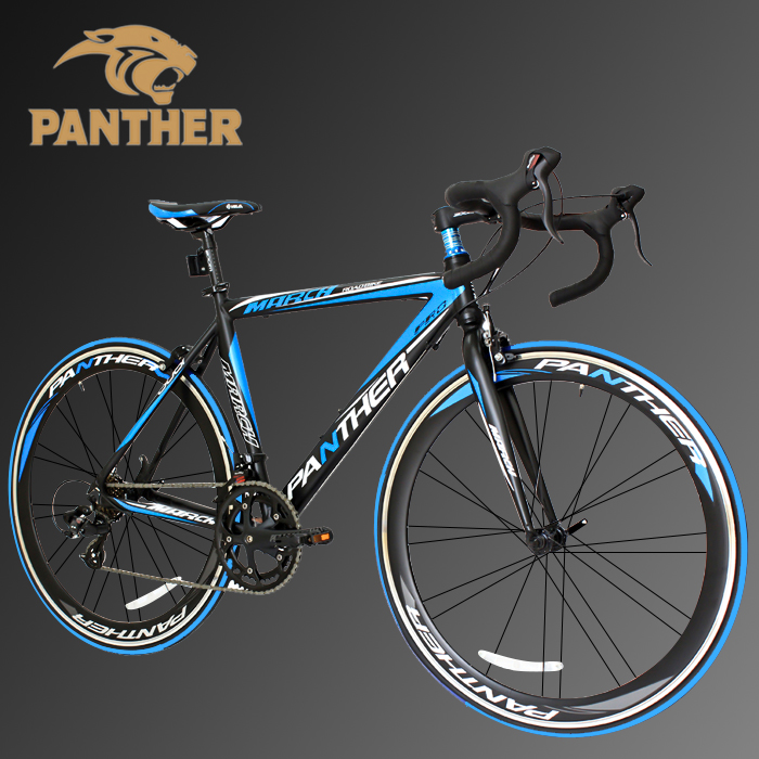 PANTHER (パンサー)ロードバイク全5色/3サイズ選択可シマノ14段変速 STIデュアルコントロール超軽量異型アルミフレーム700C×23C 適応身長160cm以上前後クイックリリース搭載 ドロップハンドルコスパ最強モデル 通勤通学新生活入学 就職メーカー保証1年(色Black/Blue)
