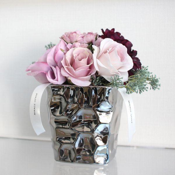 Mirage Style Silver Color Roundstone A Flower Vase Vase Vase