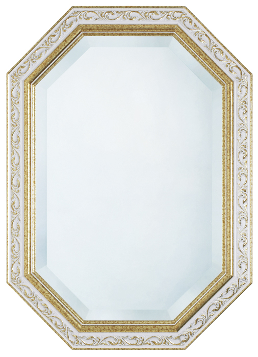 鏡・壁掛けミラー・FS-32-15  【ホワイトxゴールド・八角形】【interior送料無料】