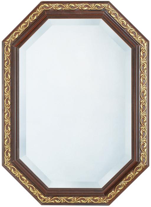 鏡・壁掛けミラー・FS-32-16【ブラウンxゴールド・八角形】【interior送料無料】