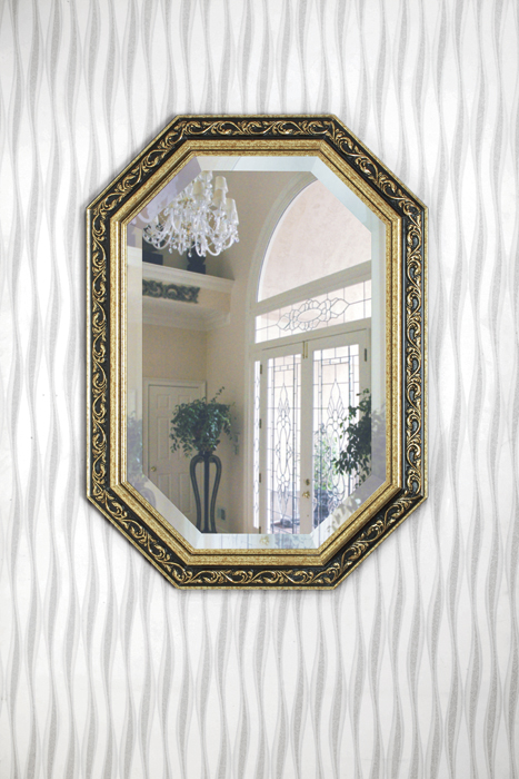 鏡・壁掛けミラー・FS-32-17【ブラックxゴールド・八角形】【interior送料無料】