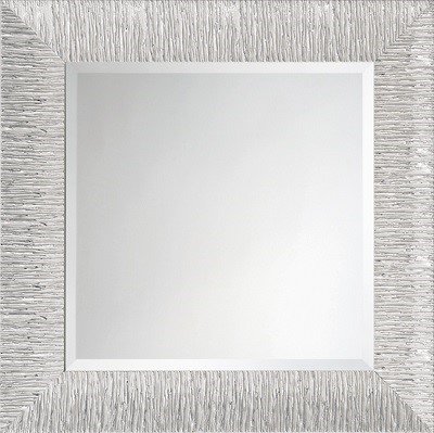 鏡・壁掛けミラー・PE-427-85【ホワイトxシルバー・正方形】イタリア製モダンミラー