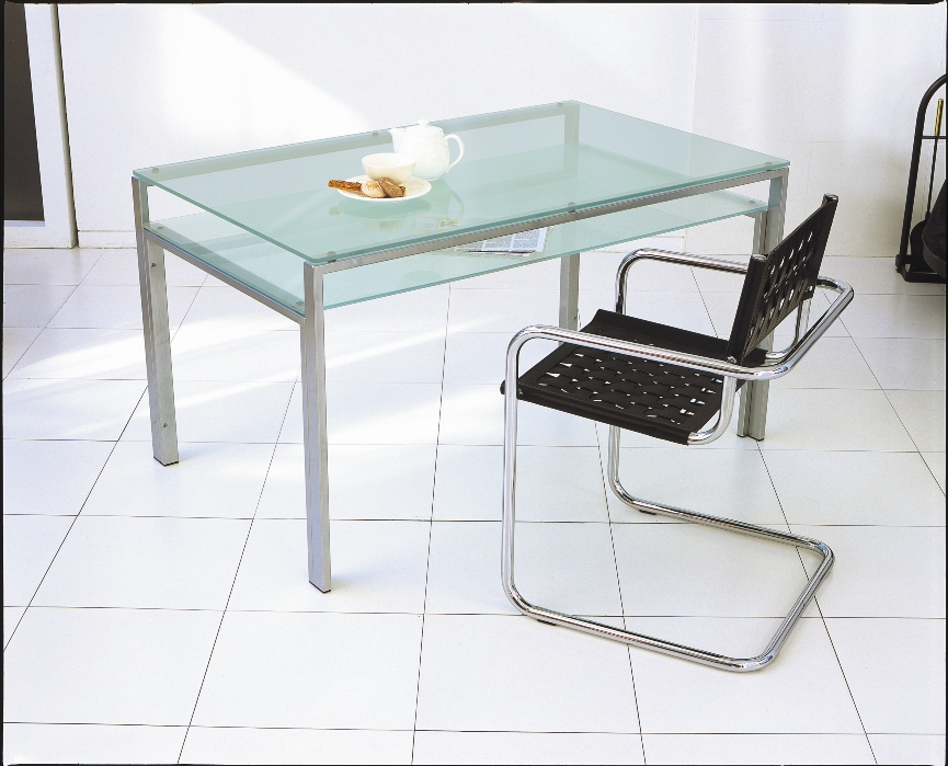 Glass Dining Table 1300x800mm / Silver Frame And Clear Glass Shelf And Frosted  Glass Shelves