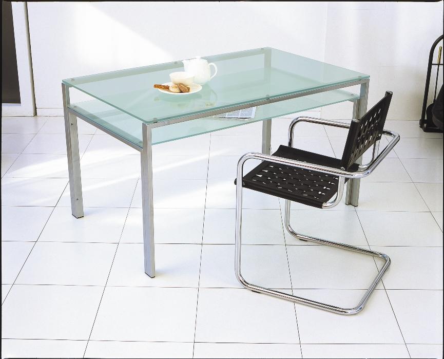 【送料無料】【DT-18】ガラスダイニングテーブル1500x800mm/シルバーフレーム・クリアガラス天板/フロストガラス棚付き