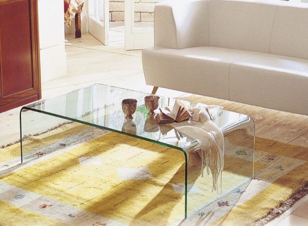 オールガラステーブル・ガラスリビングテーブル・曲げガラス・W1000タイプ EC-101 【interior送料無料】配送時間指定不可