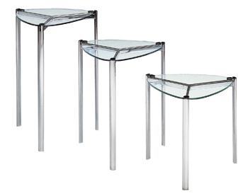 サイドテーブル・ガラスリビングテーブル FT-5 透明ガラス(小)【interior送料無料】