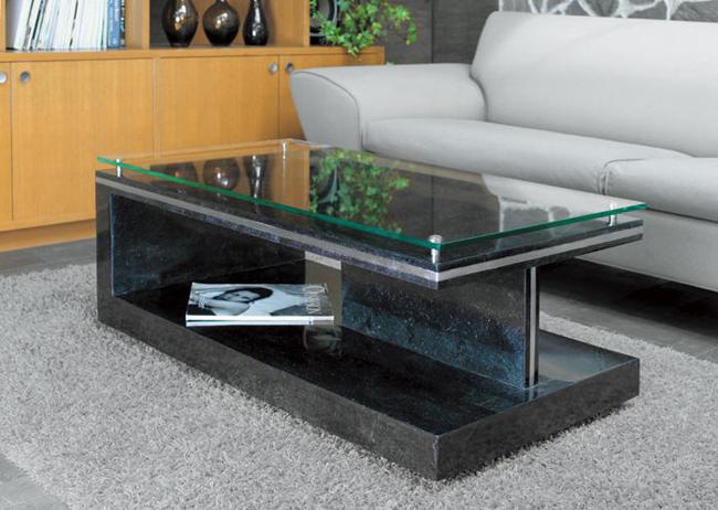 MS-7 ストーンリビングテーブル ガラスセンターテーブル ブラックストーン【interior送料無料】