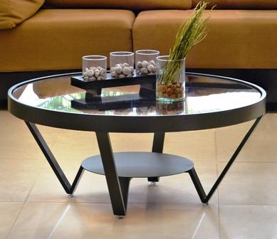 ガラステーブル・円形ガラステーブル・ローテーブル EM-015【interior送料無料】配送時間指定不可