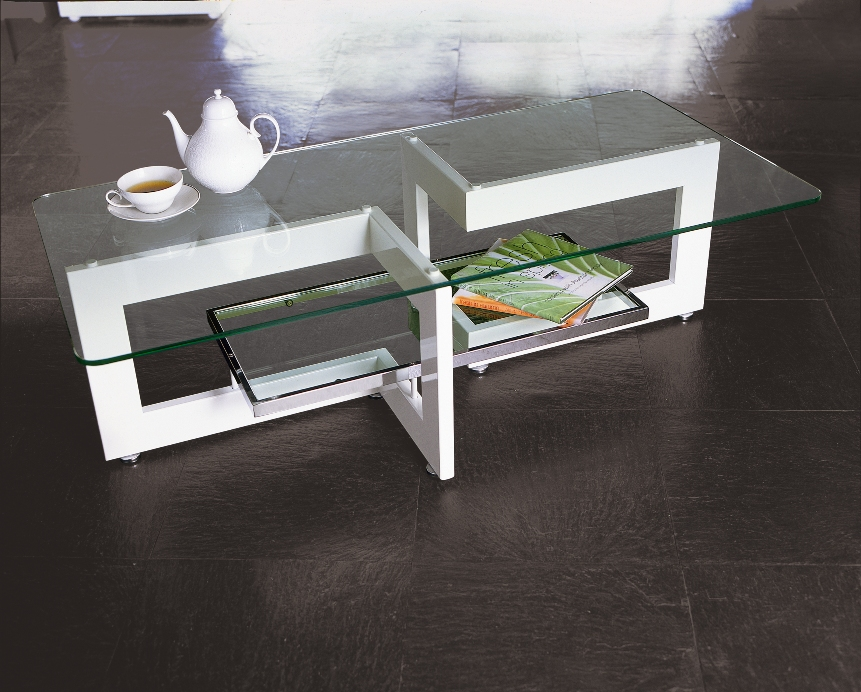 ガラスリビングテーブル YG-65 W1000xH500【interior送料無料】