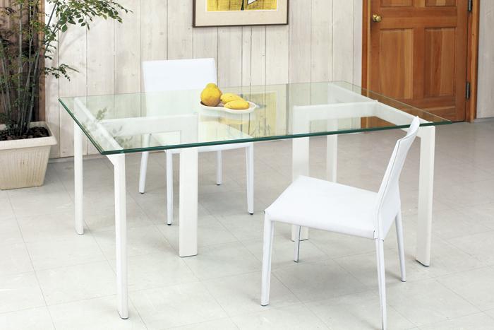 【送料無料】【YT-03+YT-15】ガラスダイニングテーブル・ホワイト 1500x900mm 配送時間指定不可