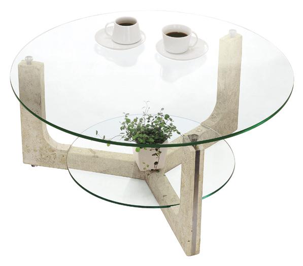 MS-1 ストーンリビングテーブル 円形 ガラスセンターテーブル マクタンストーン【interior送料無料】