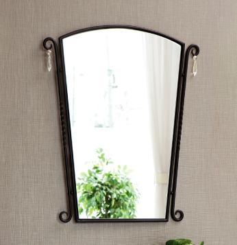 壁掛けミラー 鏡  AK-01 アイアン・ブラック・スワロフスキービーズ付き【interior送料無料】