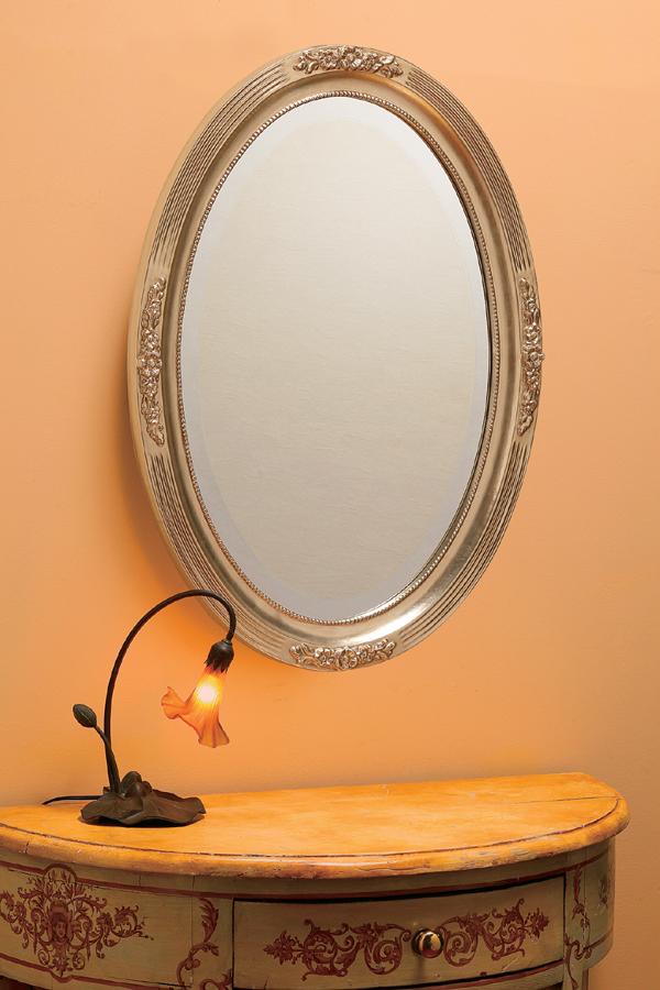 鏡 壁掛けミラー イタリア製ミラー 楕円形【シルバー・オーバル型】 MB-826【interior送料無料】