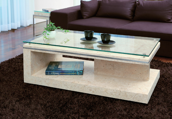 Natural Stone Living Center Table Glass Table