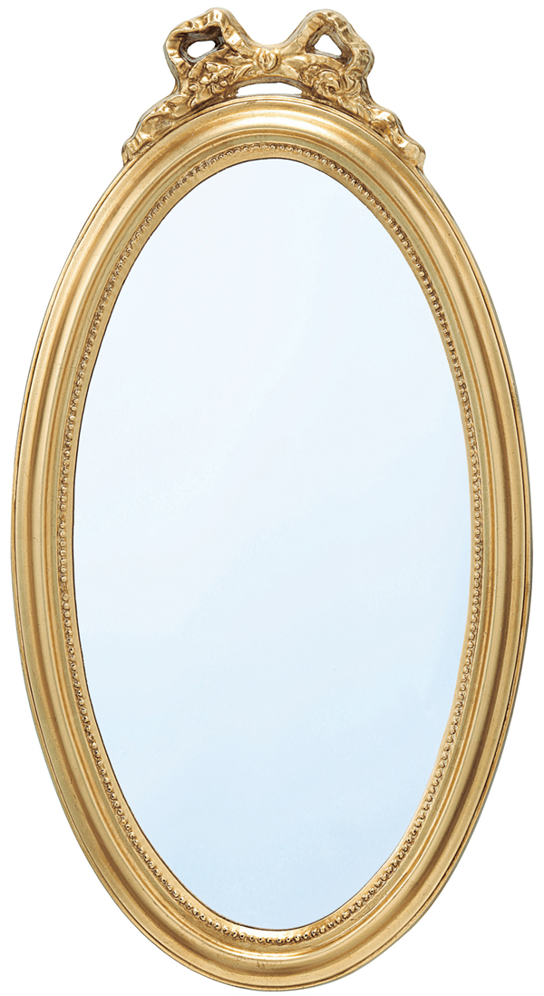 アウトレット価格 鏡 壁掛けミラー【ゴールド・リボン・オーバル型】 PE-540【interior送料無料】