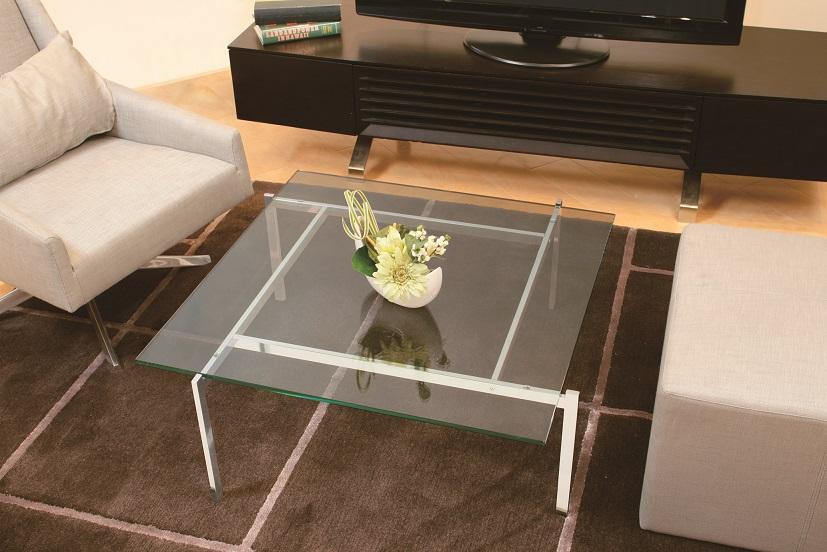 ガラスリビングテーブル EC-112 正方形【interior送料無料】